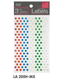 LA 205H-MX: KCK Round Labels - 5mm Mix