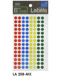 LA 208-MX: KCK Round Labels - 8mm Mix