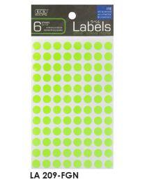 LA 209-FGN: KCK Round Labels - 9mm Fluorescent Green
