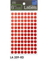 LA 209-RD: KCK Round Labels - 9mm Red