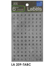 LA 209-TABC: KCK Round Labels - 9mm Transparent Alphabets